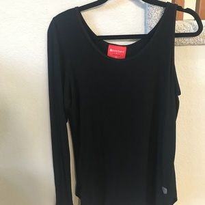 Pure Barre one shoulder opening top.